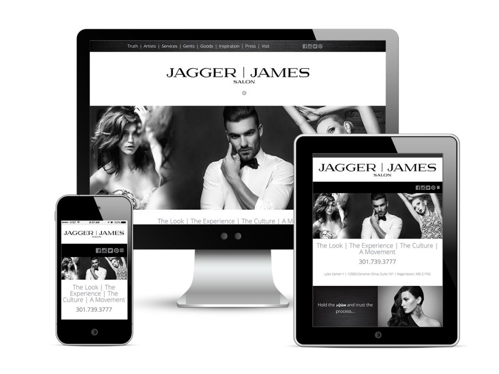 JAGGER | JAMES SALON responsive website design and development, displayed on a desktop computer, tablet, and smart phone.