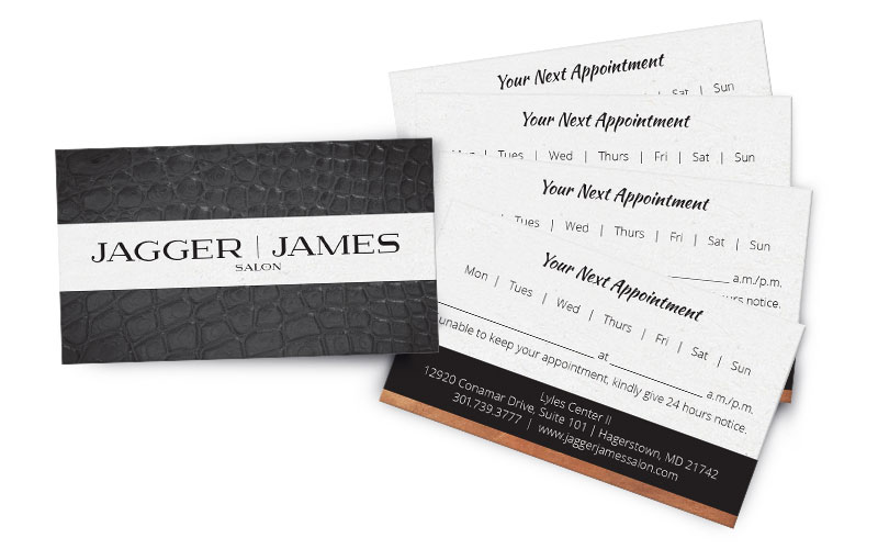 Appointment card design, allowing the client or concierge to circle the day of the week and write in the date and time of appointment. A disclaimer also appears requesting 24 hours notice if an appointment needs to be canceled.