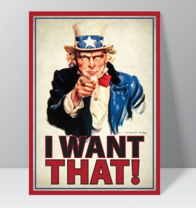"""Uncle Sam saying """"I want that"""" on a bidding card."""