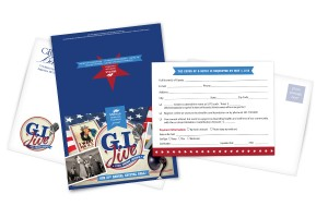 """invitation card Displays """"GI Jive"""" prominently on the front with retro images as well as 2 envelopes and an RSVP card"""