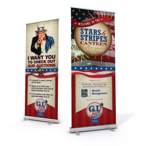"""Two Banner stands with Patriotic design. One with Uncle Sam saying """"I want you to check out our auction"""". Second one Displayes in large bold letters """"STripes and Stars"""""""